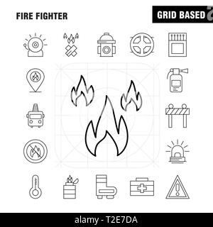 Fire Fighter Line Icon for Web, Print and Mobile UX/UI Kit. Such as: Burn, Fighter, Fire, Fireman, Barrier, Board, Fighter, Fire, Pictogram Pack. - Ve - Stock Photo