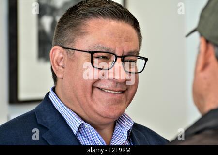elected California Congressman Salud Carbajal - CA-24) in Santa Maria March of 19, USA real, California, America - Stock Photo