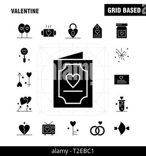 Valentine Solid Glyph Icons Set For Infographics, Mobile UX/UI Kit And Print Design. Include: Bottle, Medicine, Love, Valentine, Romantic, Book, Love, - Stock Photo