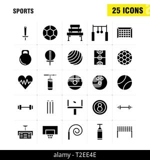 Sports Solid Glyph Icon Pack For Designers And Developers. Icons Of Ball, Golf, Tee, Sports, Cricket, Stumps, Wicket, Sports, Vector - Stock Photo