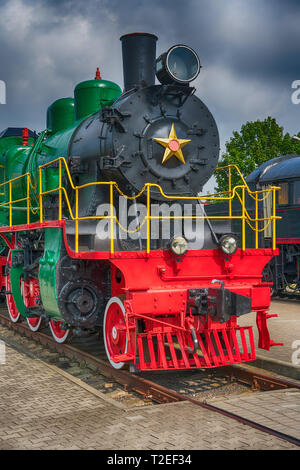 Front view of an old-fashioned steam locomotive - Stock Photo