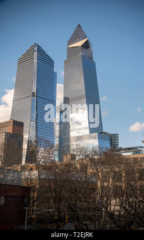 10 Hudson Yards, left, 30 Hudson Yards, right, and other development around Hudson Yards in New York on Friday, March 22, 2019. (© Richard B. Levine) - Stock Photo