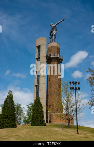 USA Alabama AL Birmingham Vulcan Park tower statue monument to the Roman God Vulcan god of fire and forge - Stock Photo