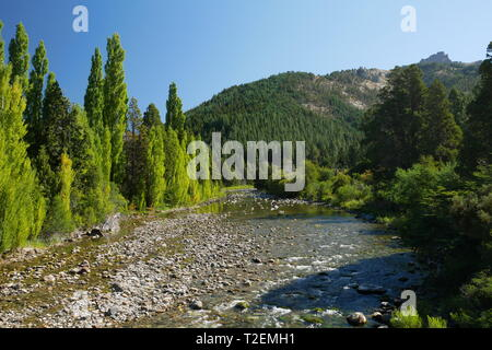 Meliquina River in the Lanin National Park, Patagonia, Argentina - Stock Photo
