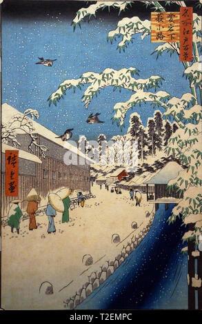 One Hundred Famous Places of Edo: Yabukoji Street at the Foot of Atago Hill, by Utagawa Hiroshige, woodblock print, Edo Period, 1857 - Stock Photo