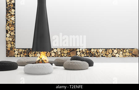 Spacious white living room with modern fireplace, lounge are, 3d render - Stock Photo