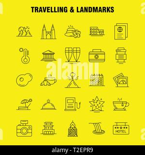 Travelling And Landmarks Line Icon for Web, Print and Mobile UX/UI Kit. Such as: Drink, Hotel, Glass, Health, Tea, Cake, Coffee, Hot, Pictogram Pack.  - Stock Photo