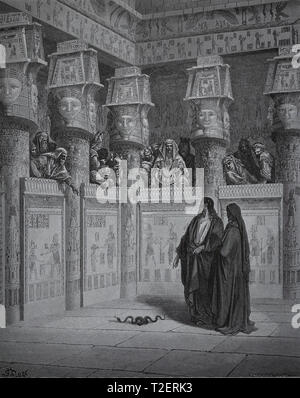 The Bible. Exodus. Moses and Aaron Appear before Pharaoh. Engraving by Dore, 1866. - Stock Photo