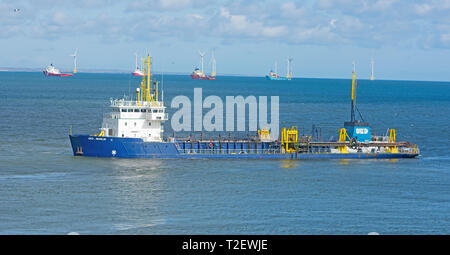 UKD Marlin .TRAILING SUCTION HOPPER DREDGER working in the Aberdeen harbour approach channel, in North East Scotland. - Stock Photo