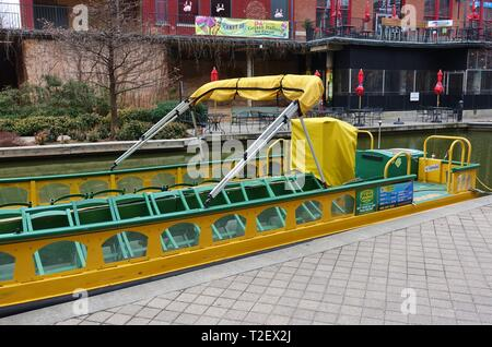 OKLAHOMA CITY, OK -2 MAR 2019- View of a water taxi on the Bricktown Canal in Oklahoma City, United States. - Stock Photo