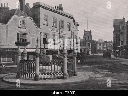 Coronation Stone and Market-Place, Kingston-on-Thames - Stock Photo