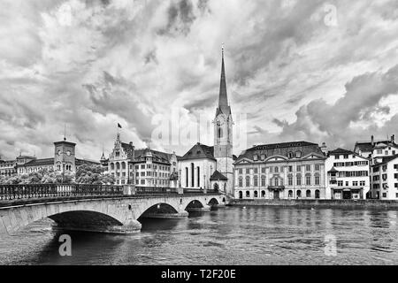 View on the old town seen from the river, Zurich, Switzerland - Stock Photo
