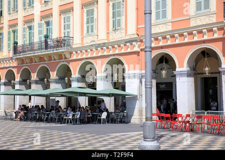The Place Masséna, a historic square in Nice, France. - Stock Photo