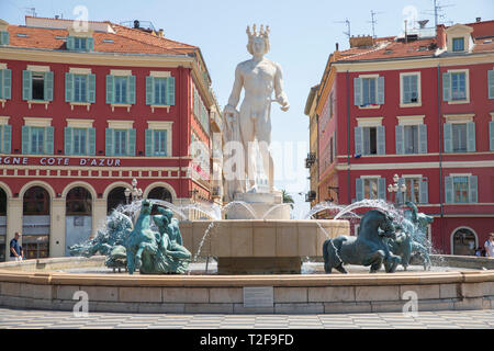 Fountain of the Sun (Fontaine du Soleil) in Nice, France. - Stock Photo