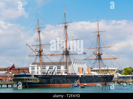 HMS Warrior ship in the docks in Portsmouth Harbour, Portsmouth, Hampshire, England, UK. Old wooden warship. - Stock Photo
