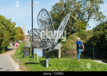 Butterfly sculpture on the towpath alongside Chichester Ship Canal, Chichester, West Sussex, England, UK. - Stock Photo