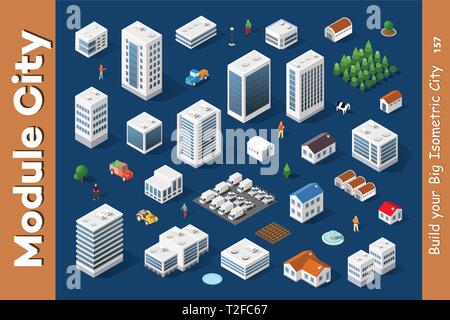 A Set Of Isometric City Objects Of Urban Street Infrastructure Elements For Design And Conceptual Projects - Stock Photo