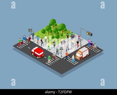 People walking around the city businessman business man isometric projection - Stock Photo