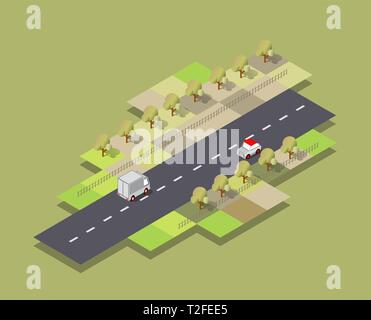 Isometric Seasons city with houses and streets with trees, fir and bushes. Season Spring time of the year. Conceptual vector illustration. - Stock Photo