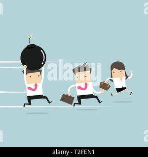 Businessman holding a huge bomb and his friends running away from him. - Stock Photo