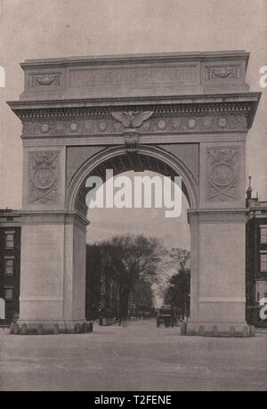 The Washington Memorial Arch-Washington Square, at the beginning of Fifth Avenue - Stock Photo