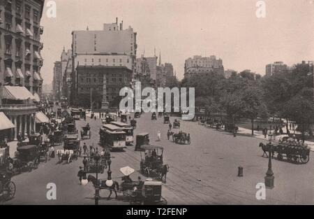 Junction Broadway and Fifth Avenue; Fifth Avenue Hotel; Madison Square - Stock Photo