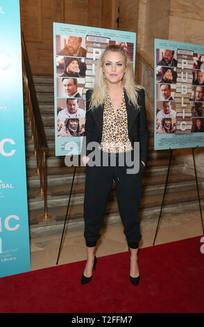 New York, United States. 01st Apr, 2019. New York, NY - April 1, 2019: Elaine Hendrix attends premiere of The Public movie at New York Public Library Credit: lev radin/Alamy Live News - Stock Photo