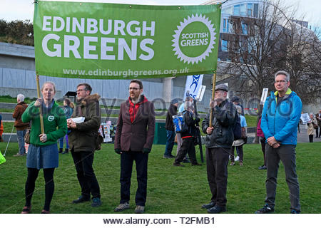 Edinburgh, Scotland, UK. 2nd April 2019.  Climate Change Rally outside the Scottish Parliament demanding that MSPs take the issue seriously and commit to urgent climate action. Today Members of the Scottish Parliament(MSPs) will be debating Scotland's new climate change law for the first time. Credit: Craig Brown/Alamy Live News - Stock Photo
