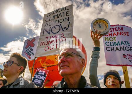 Edinburgh, Scotland, UK. 2nd Apr, 2019. Stop Climate Chaos Scotland (SCCS) holds a a protest outside the Scottish parliament. Credit: Steven Scott Taylor/Alamy Live News - Stock Photo