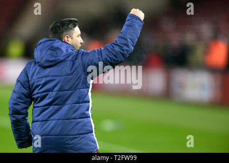 Middlesbrough, UK. 2nd Apr, 2019. Bristol City manager Lee Johnson celebrates with the fans after the Sky Bet Championship match between Middlesbrough and Bristol City at the Riverside Stadium, Middlesbrough on Tuesday 2nd April 2019. (Credit: Tom Collins | Credit: MI News & Sport /Alamy Live News - Stock Photo
