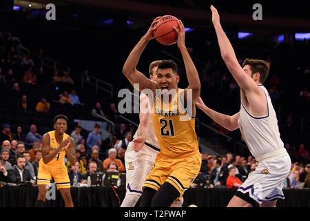April 02, 2019: Wichita State Shockers forward Jaime Echenique (21) splits two defenders at the semi-final of the NIT Tournament game between The Wichita State Shockers and The Lipscomb Bisons at Madison Square Garden, New York, New York. Mandatory credit: Kostas Lymperopoulos/CSM - Stock Photo
