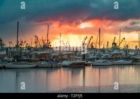 Newlyn, Cornwall, UK. 3rd Apr, 2019. UK Weather. A brief splash of colour at Newlyn Harbour this morning, before the sun dissapeared behind a thick band of clouds. Feeling much colder than yesterday. Credit: Simon Maycock/Alamy Live News - Stock Photo