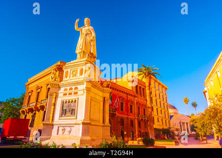Statue of Eleanor of Arborea, in front of the city hall, Oristano, Sardinia, Italy, Europe. Beautiful photo of the historical town in Sardinia. - Stock Photo
