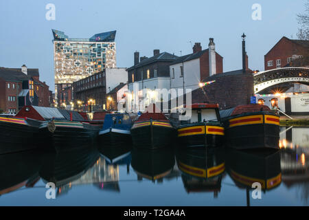 Birmingham Canals by night - Stock Photo