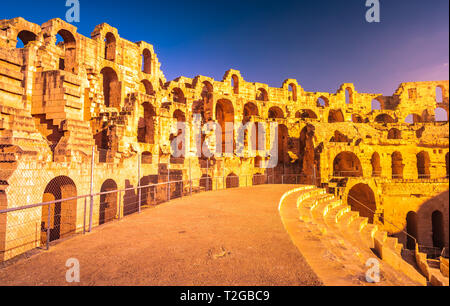 The Roman amphitheater of Thysdrus in El Djem or El-Jem, a town in Mahdia governorate of Tunisia. One of the main attraction in Tunisia and Northern A - Stock Photo