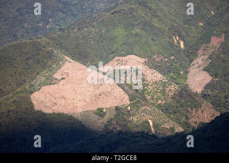 Deforestation in the hills around town of Nong Khiaw, Muang Ngoi District, Luang Prabang Province, Northern Laos, Laos, Southeast Asia - Stock Photo
