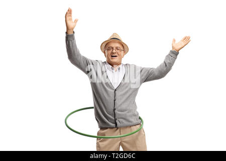 Happy mature man with a hula hoop isolated on white background - Stock Photo