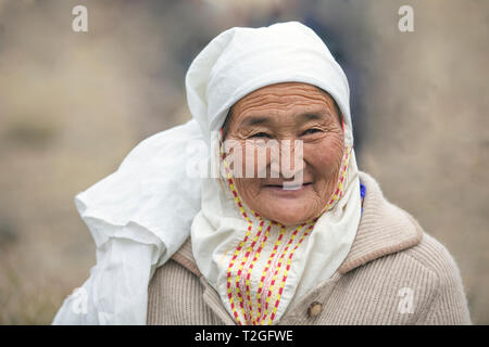 bayan Ulgii, Mongolia, 3rd October 2015: old mongolian woman - Stock Photo