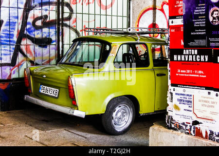 Classic green trabant car parked in Plovdiv, Bulgaria - Stock Photo