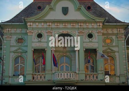 ZRENJANIN, SERBIA, OCTOBER 14th 2018 - Balcony on all baroque city hall - Stock Photo