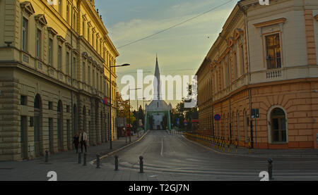 ZRENJANIN, SERBIA, OCTOBER 14th 2018 - Street leading to catholic church - Stock Photo