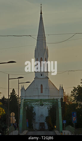 ZRENJANIN, SERBIA, OCTOBER 14th 2018 - White Catholic church - Stock Photo