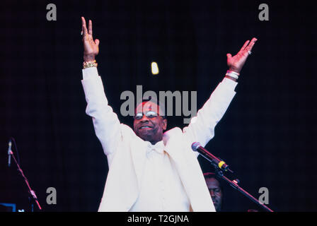 The Reverend Al Green or  'Al' Greene performing on the Pyramid stage at the Glastonbury Festival 1999, Somerset, England,UK - Stock Photo