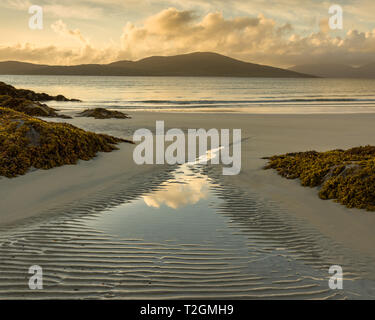 View out from Seilebost beach at sunset, Isle of Harris, Outer Hebrides, Scotland, UK - Stock Photo
