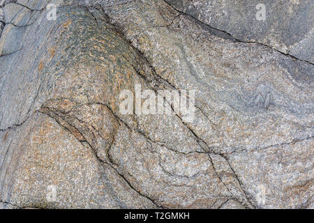 Close-up of abstract rock patterns on a beach on the Isle of Mull, Hebrides, Scotland, UK - Stock Photo