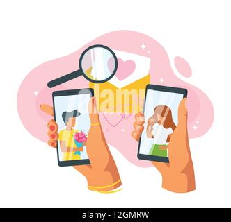 Dating app and relationship concept. Hands holding smartphone. Faceless characters in phone screen. Love message and magnifying glass. Vector illustra - Stock Photo