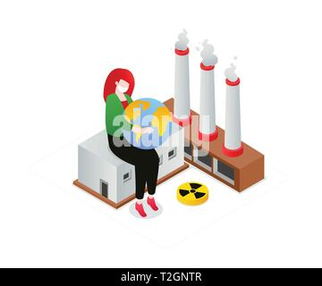 Air pollution - modern colorful isometric vector illustration on white background. A composition with a woman in a face mask holding a globe, image of - Stock Photo