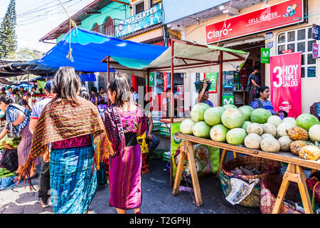Santiago Atitlan, Lake Atitlan, Guatemala - March 8, 2019: Market day in largest Mayan town on Lake Atitlan in Guatemalan highlands. - Stock Photo