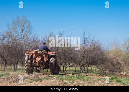 Old tractor at work on the field - Stock Photo