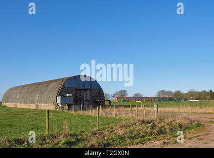 Derelict Buildings at Stracathro airfield, an old Wartime Aerodrome in the Angus Countryside near to Brechin in Angus, Scotland. March 2019. - Stock Photo